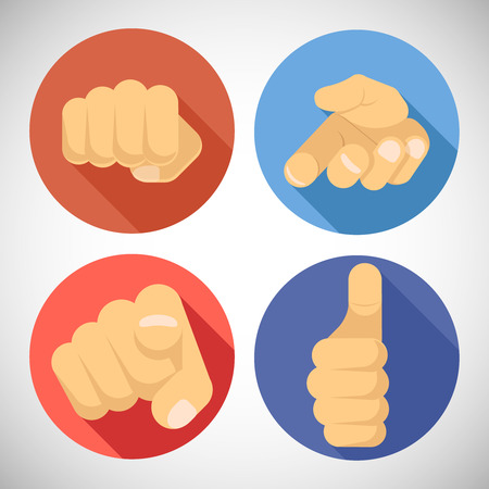 finger pointing: Open Palm Pleading Giving Pointing Finger Tumbs up Like Punchinf Fist Icon Symbols Concept Flat Design Vector Illustration