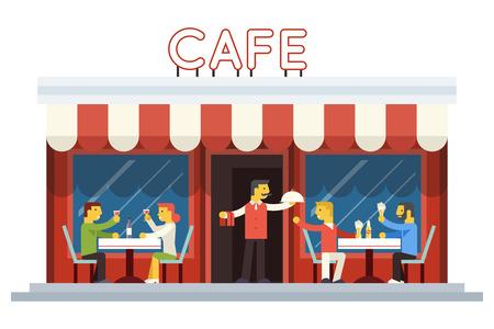 alcool: Café Façade populaire des clients de manger, boire Waiter Plat de fond plat Icône Vector Design Illustration Illustration