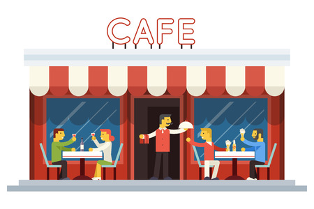 friends eating: Cafe Building Facade Customer People Eating Drinking Waiter Serving Dish Icon Background Flat Design Vector Illustration Illustration