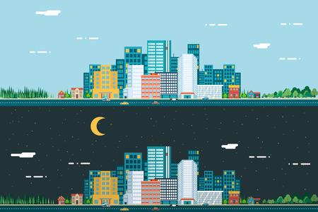 Jour et nuit, Paysage urbain Ville Immobilier Summer Background plat Design Concept Icône template vecteur Illustration Vecteurs