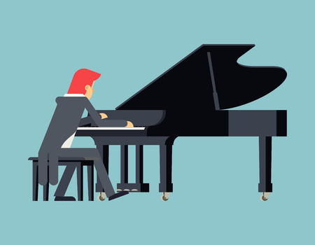 virtuoso: Pianist Piano Player Concept Character Flat Design on Stylish Background Template Vector Illustration
