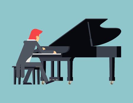 pianista: Piano Pianista Concepto jugador del diseño de carácter plana en el fondo con estilo Ilustración de plantilla de vectores Vectores