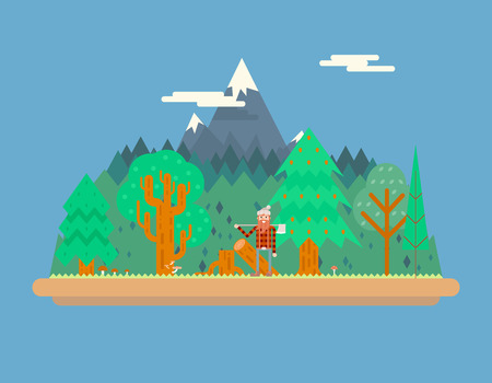 Lumberjack in wood under Mountain Concept Character Flat Design Landscape Background Template Vector Illustration Vector