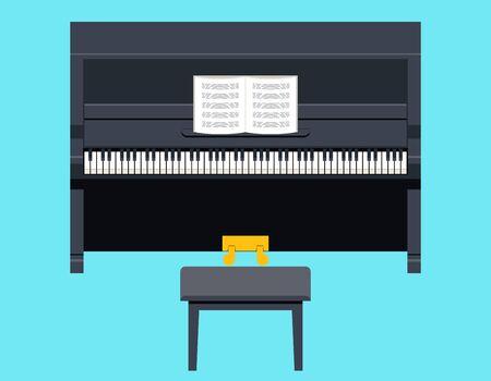 pianoforte: Piano Icon Concept Symbol Flat Design on Stylish Background Template Vector Illustration Illustration