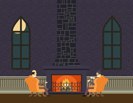 cartoon fireplace: Gentlemen at Fireplace Evening Room Hall Discussing Business Concept Icon  Illustration
