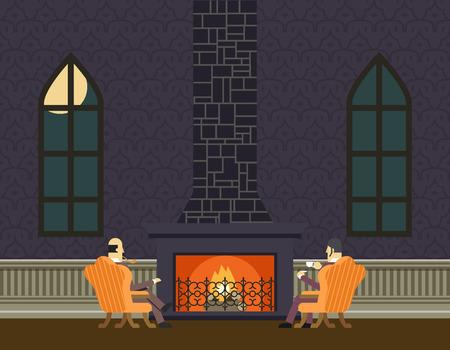 soir�e: Messieurs au Foyer Soir�e Chambre Salle Discuter Concept Ic�ne