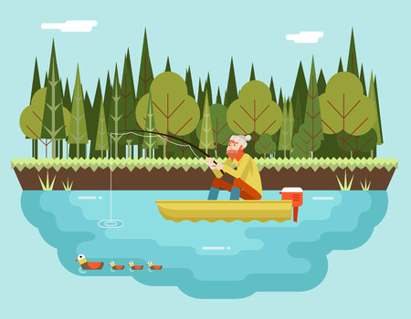 sports: Fisherman with Fishing Rod in Boat Forest and Birds Background Concept Character Icon Flat Design Landscape Template Vector Illustration