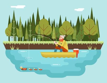 hombre pescando: Pescador con ca�a de pescar en el bosque Barco y p�jaros de fondo Icono Concepto Car�cter Ilustraci�n Piso Dise�o Paisaje plantilla de vectores