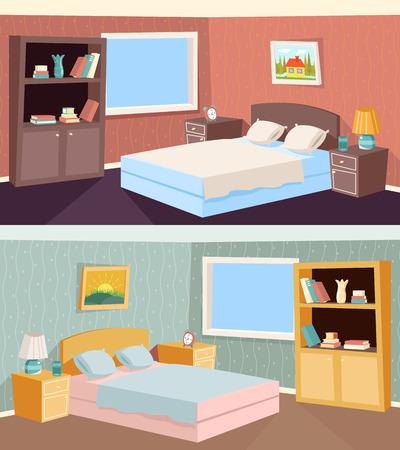Apartment Cartoon Schlafzimmer Wohnzimmer Innenansicht Wohnhaus Zimmer Retro Weinlese-Hintergrund Vektor-Illustration
