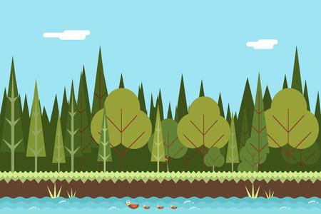pond: Seamless Wood River Nature Concept Flat Design Landscape Background Template Vector Illustration