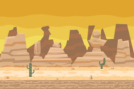 cactus desert: Seamless Desert Road Cactus Nature Concept Flat Design Landscape Background Template Vector Illustration
