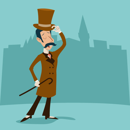 gentleman: Vintage Great Britain Victorian Gentleman Businessman Cartoon Character Icon on Stylish English City Background Retro Design Vector Illustration