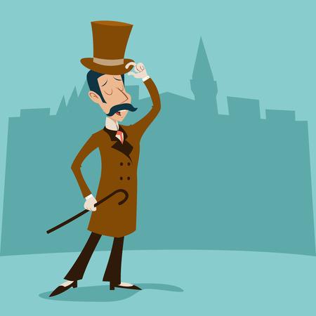 wealthy man: Vintage Great Britain Victorian Gentleman Businessman Cartoon Character Icon on Stylish English City Background Retro Design Vector Illustration