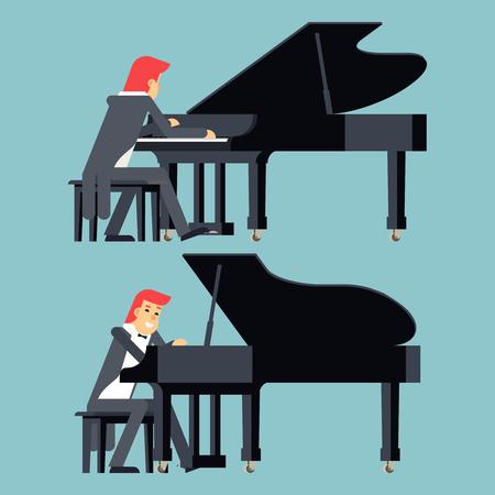 pianista: Piano Pianista Concepto jugador del dise�o de car�cter plana en el fondo con estilo Ilustraci�n de plantilla de vectores Vectores