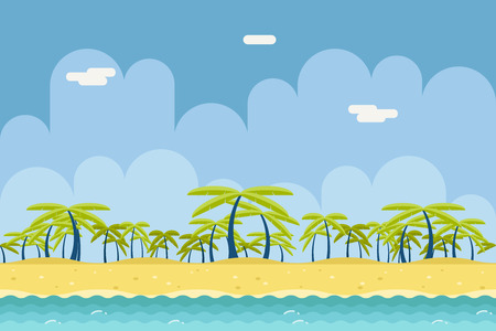 beach landscape: Seamless Sunny Beach Ocean Sea Nature Concept Flat Design Landscape Background Template Vector Illustration