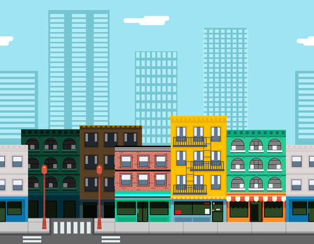 city background: Seamless City Street Concept Flat Design Town Landscape Background Game Template Vector Illustration