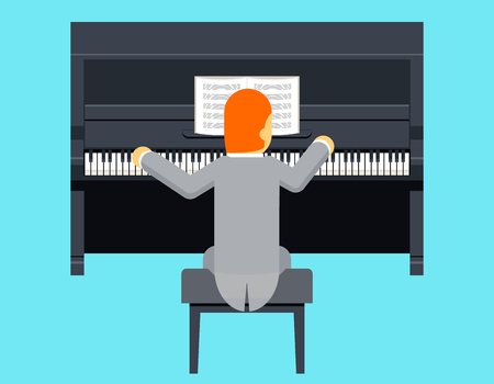 pianist: Pianist Piano Player Concept Character Flat Design on Stylish Background Template Vector Illustration