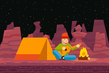 sings: Night Camp Tent Traveler Sings and plays Guitar Campfire Seamless Desert Flat Design Background Template Vector Illustration