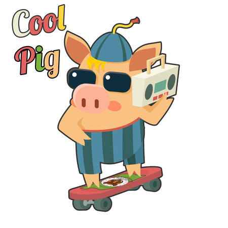 tape recorder: Cool Pig Sunglasses Skateboard Tape Recorder Cartoon Character Icon Vector Illustration
