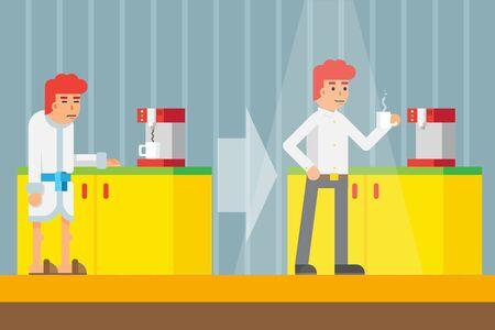 vigor: Drink Morning Invigorating  coffee Machine Male cheerful character Icon Flat Design on Stylish Background Template Vector Illustration Illustration
