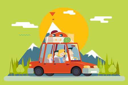 family trip: Family Father Mother Son Daughter Travel Lifestyle Concept of Planning a Summer Vacation Tourism and Journey Symbol Car Forest City Modern Flat Design Icon Template Vector Illustration Illustration