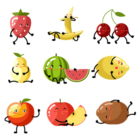 banana caricatura: Manzana fresca kiwi sand�a cereza fresa lim�n melocot�n pera pl�tano alimentos sanos vitaminas naturales ni�os de la historieta caracteres plana iconos del dise�o ilustraci�n vectorial