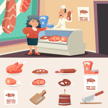 肉肉屋店おばあちゃん古い女性売り手レトロなヴィンテージ漫画文字アイコン スタイリッシュな背景デザインのベクトル図