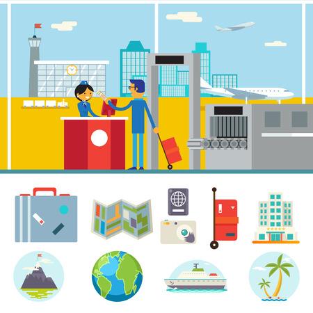 計画休暇観光と旅シンボル空港都市背景のフラットなデザイン アイコン テンプレート ベクトル図の幸せなアニメのビジネスマン スチュワーデス文  イラスト・ベクター素材
