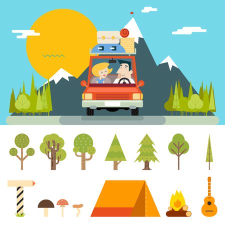 forest: Family Trip Road Car Concept Flat Design Icon Mountain Forest Background Vector Illustration