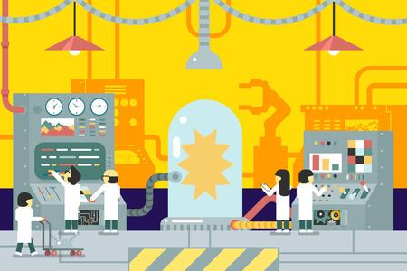control panel: scienziati scientifico esperienza esperimenti di laboratorio lavorano davanti pannello di controllo lo sviluppo della produzione di analisi di business studio design piatto concetto illustrazione