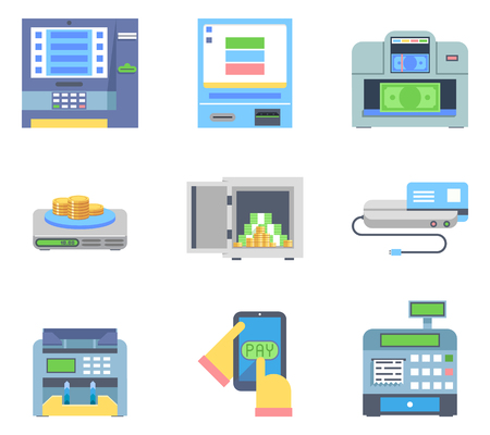 bankomat: Banking Payment Money Cash Check Machines Flat Icon Isolated Set Vector Illustration