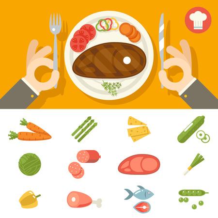 Hands cutlery Plate Food Icon Set Restaurant Promotion concept Symbol Stylish Background Flat Design Vector Illustration