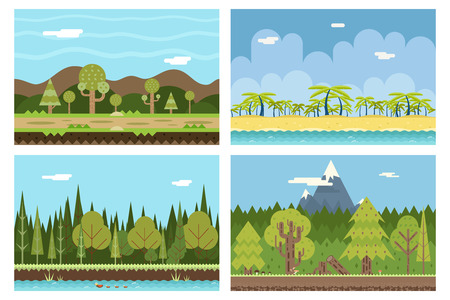 lands: Road Nature Beach Ocean Sea Wood River Mountain Nature Concept Flat Design Landscape Background Vector Illustration