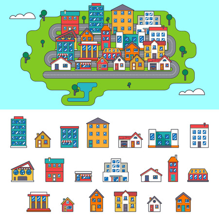 city buildings: Real Estate City Building House Street Flat Icons Set Vector Illustration
