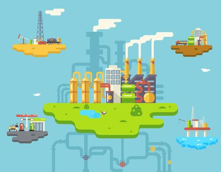 waste products: Factory Refinery Plant Manufacturing Products Processing Retro Flat Oil Floating Island Icons Symbols Set Concept on Sky Background Vector Illustration