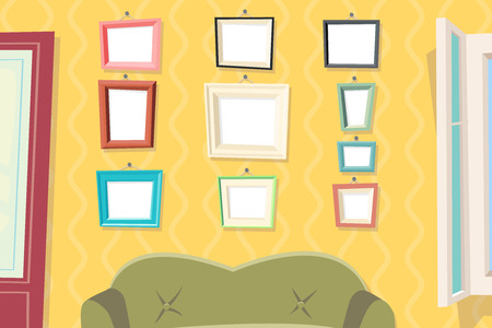 drawing room: Vintage Cartoon Photo Picture Painting Drawing Frame Template Icon Set Stylish Wall Apartment Living Room Interior House Background Retro Design Vector Illustration Illustration