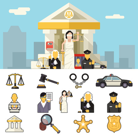 law books: Law Icons Set Justice Symbol Concept City Background Flat Design Vector Illustration