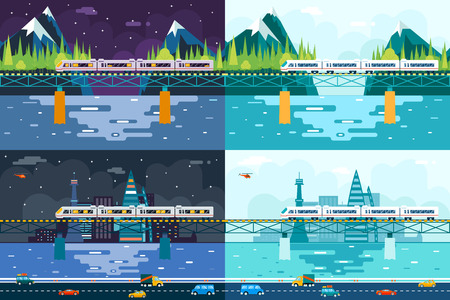 treno espresso: Carri Ponte sul Turismo fluviale e Journey Simbolo Railroad Train Travel Concept su Elegante Mountain City Day Night Sky illustrazione sfondo piatto Vector Design Vettoriali