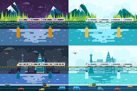 tag und nacht: Wagons Br�cke �ber Fluss Tourismus und Reisen Symbol Eisenbahn-Zug-Reise-Konzept auf stilvolle Mountain City Day Night Sky Background Wohnung Design Vector Illustration