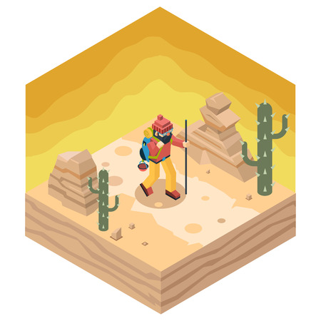 cactus desert: Backpacker Traveler Polygonal Character Walk Desert Road Cactus Nature Concept Isometric Flat Design Landscape Background Vector Illustration