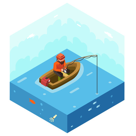fisherman boat: Fisherman Fishing Rod Polygonal Character in Boat River Lake Sea Ocean Sky with Fish Background Concept Character Icon Isometric Flat Design Landscape Template Vector Illustration