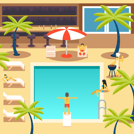 pool symbol: Happy People Sunny Pool Hotel Summer Vacation Tourism Journey Symbol Ocean Sea Travel Bacground Design Concept Template Vector Illustration