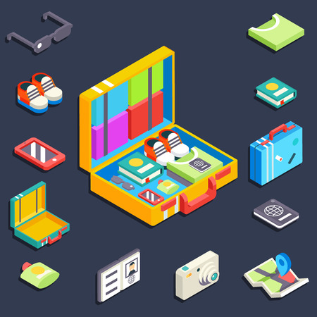 charges: Baggage items accessories summer travel vacation trip  isometric vector illustration Illustration