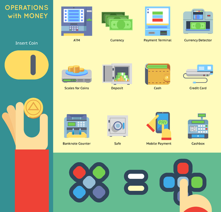 bankomat: Operation Money Banking Payment ATM Cash Check Machine Coin Hands Flat Icon Set Vector Illustration