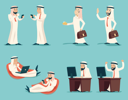 saudi: Retro Vintage Successful Arab Businessman Working Set Traditional National Muslim Clothes Cartoon Characters Icon Stylish Background Retro Cartoon Design Vector Illustration