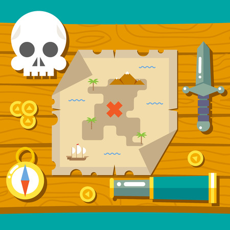 Pirate Treasure Adventure Game RPG Map Action Knife Gagger Spyglass Skull Compass Icon Symbol Wood Table Background Concept Flat Vector Illustration