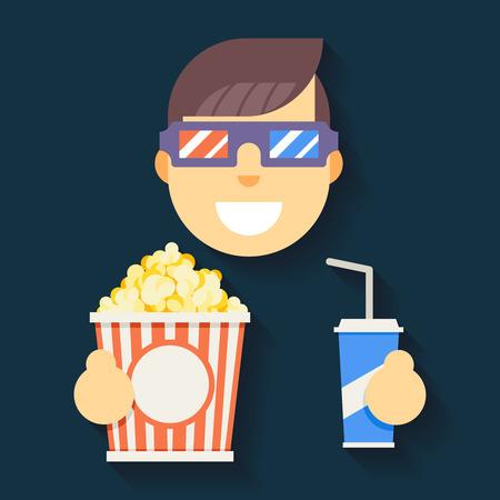 palomitas de maiz: Hombre de Guy Hombre Boy Carácter ilustración Cinema Gafas 3D Gran palomitas Soda Plano Agua Icono vectorial