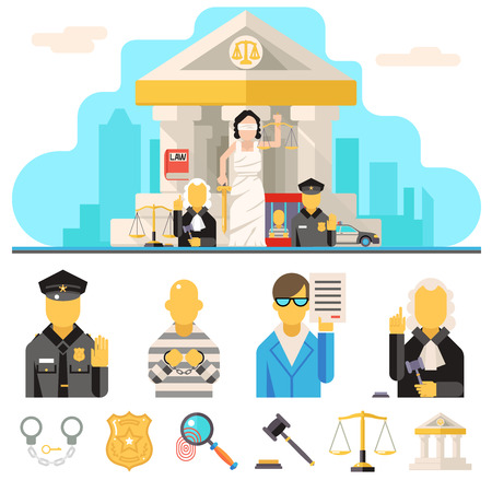 courthouse: Courthouse Law Icons Set Justice Symbol Concept City Background Flat Design Vector Illustration Illustration