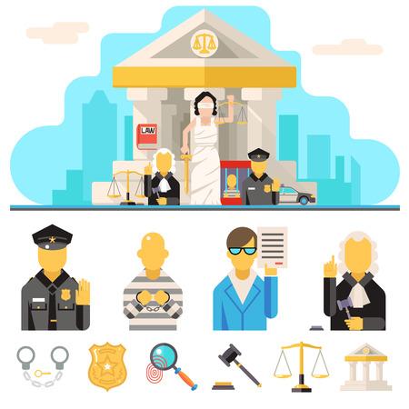 tribunal: Courthouse Law Icons Set Justice Symbol Concept City Background Flat Design Vector Illustration Illustration