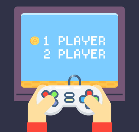 game pad: Retro Games Player Hands Joystick Monitor Screen Flat Icon Isolated Set Vector Illustration Illustration